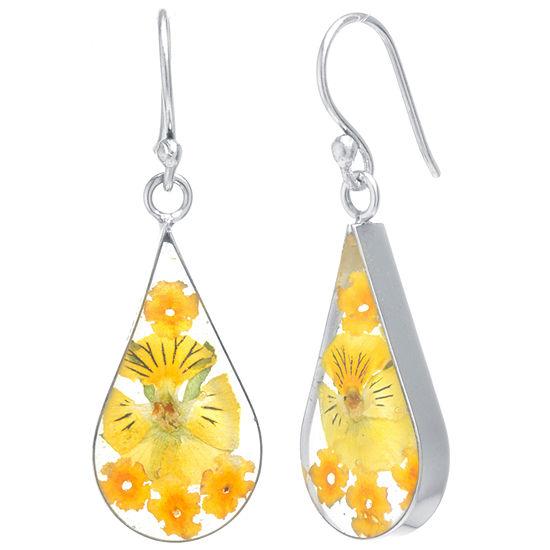 Everlasting Flower Sterling Silver Flower Drop Earrings