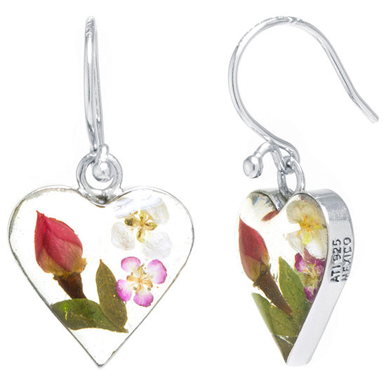 Everlasting Flower Real Pressed Flowers Sterling Silver Heart Drop Earrings