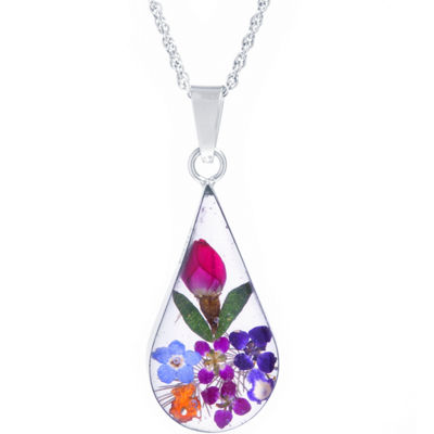 Womens Sterling Silver Flower Pendant Necklace