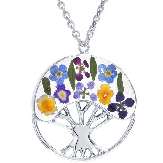 Womens Sterling Silver Round Pendant Necklace
