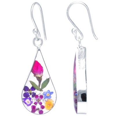 Everlasting Flower Sterling Silver Flower Drop Earrings