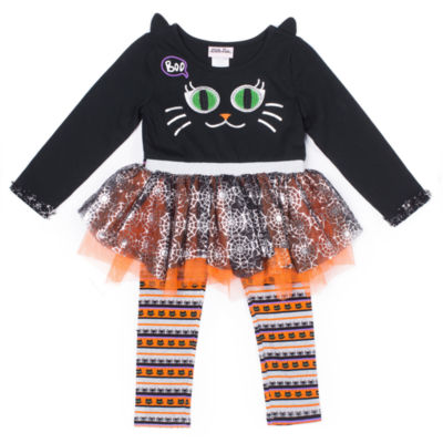 Little Lass Halloween Cat Face Tutu 2-pc. Legging Set- Preschool Girls