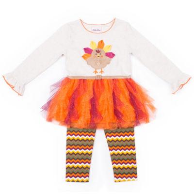 Little Lass Turkey Tutu 2-pc. Legging Set- Preschool Girls