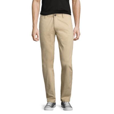 Arizona Mens Low Rise Slim Fit Flat Front Pant