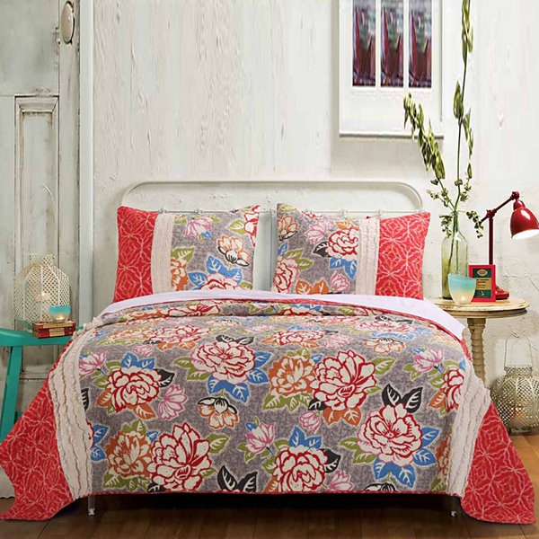 Barefoot Bungalow Gypsy Rose Floral Quilt Set