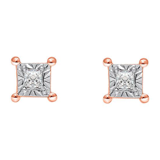 Tru Miracle 1/6 CT. T.W. Genuine White Diamond 10K Rose Gold 4mm Stud Earrings