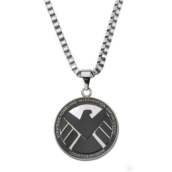 f2b5866734eb9 Marvel Agents of S.H.I.E.L.D. Logo Mens Stainless Steel Pendant Necklace
