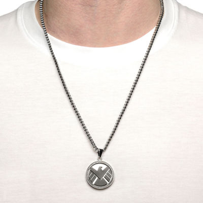 Marvel Agents of S.H.I.E.L.D. Logo Mens Stainless Steel Pendant Necklace