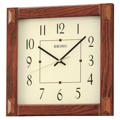 Seiko® White Dial Brown Square Wall Clock Qxa469blh