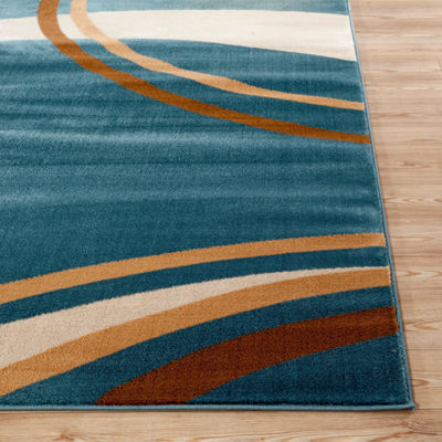 Contemporary Modern Wavy Circles Rectangular Rugs