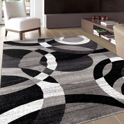 World Rug Gallery Contemporary Modern Circles Abstract Rugs