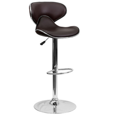 Contemporary Cozy Mid-Back Vinyl Adjustable HeightBarstool with Chrome Base