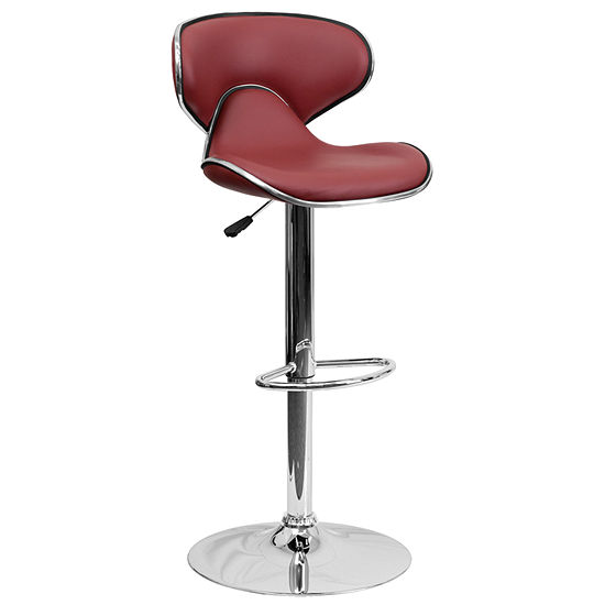 Contemporary Cozy Mid Back Vinyl Adjustable Heightbarstool With Chrome Base