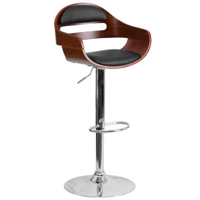 Bentwood Adjustable Height Barstool with Vinyl Seat and Cutout Padded Back