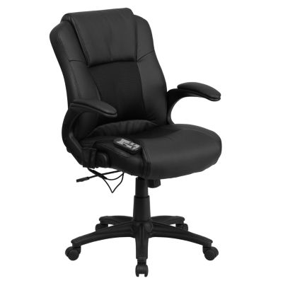 Massaging Leather Executive Swivel Chair with Arms