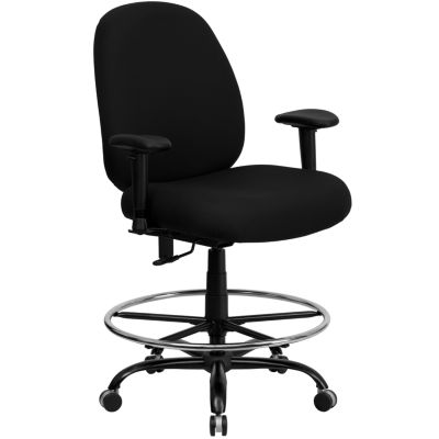 HERCULES Series 400 lb. Capacity Big & Tall FabricDrafting Chair with Extra WIDE Seat and Height Adjustable Arms