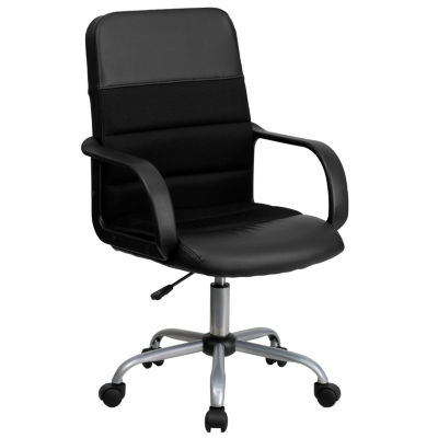 Mid-Back Leather and Mesh Swivel Task Chair with Arms