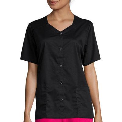 WonderWink® Womens Short-Sleeve Snap-Front Top - Plus