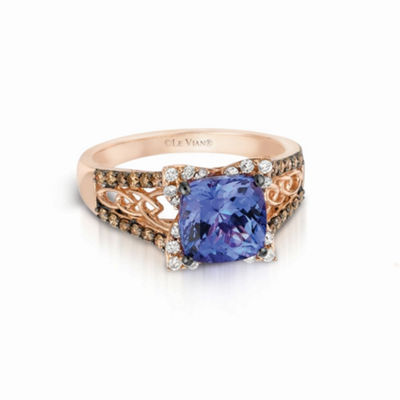 LIMITED QUANTITIES! Grand Sample Sale™ by Le Vian® Blueberry Tanzanite® and 3/8 CT.T.W. Vanilla Diamonds® & Chocolate Diamonds® 14K Strawberry Gold® Ring