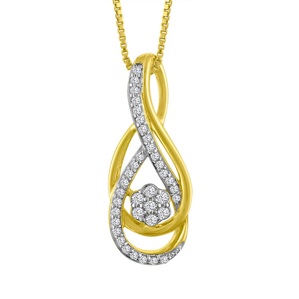 Fine Jewelry Womens 1/7 CT. T.W. White Diamond 10K Gold Pendant Necklace cWFEwKjvt5