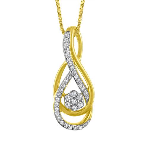 Diamond Blossom Womens 1/7 CT. T.W. White Diamond 10K Gold Pendant Necklace