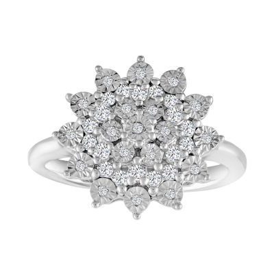 Womens 1/4 CT. T.W. Genuine White Diamond Sterling Silver Cluster Cocktail Ring
