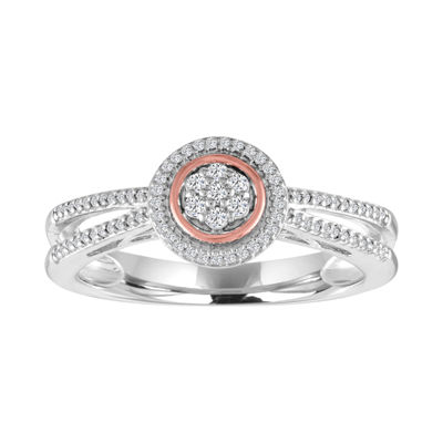 Diamond Blossom Womens 1/10 CT. T.W. Diamond Sterling Silver & 14K Rose Gold over Silver Cluster Ring