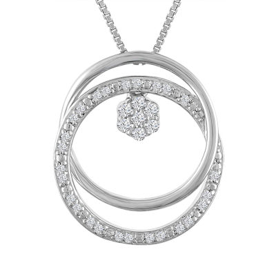 Diamond Blossom Womens 1/10 CT. T.W. Genuine White Diamond Pendant Necklace