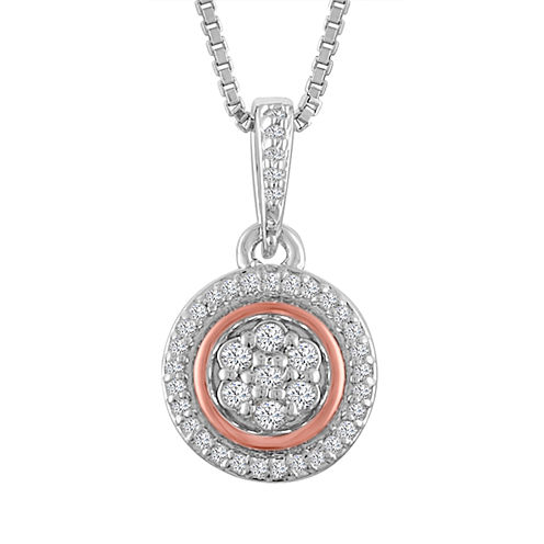 Womens 1/10 CT. T.W. Diamond Sterling Silver & 14K Rose Gold over Silver Pendant Necklace