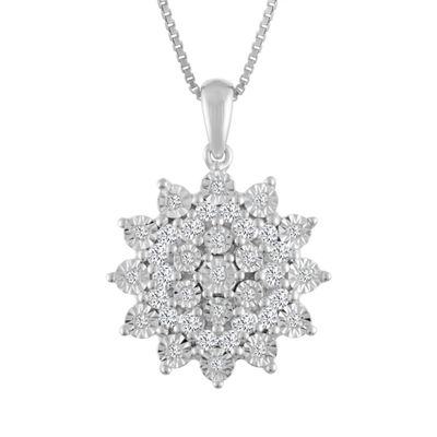 Womens 1/4 CT. T.W. Genuine White Diamond Sterling Silver Pendant Necklace