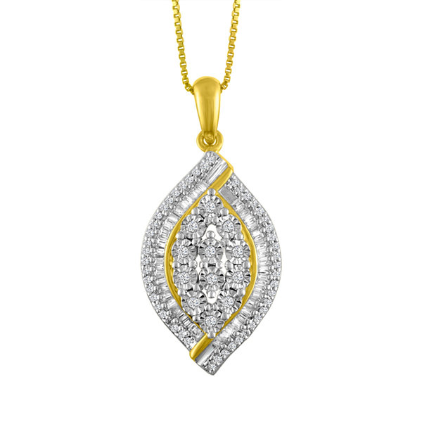 Womens 1/4 CT. T.W. White Diamond Gold Over Silver Pendant Necklace