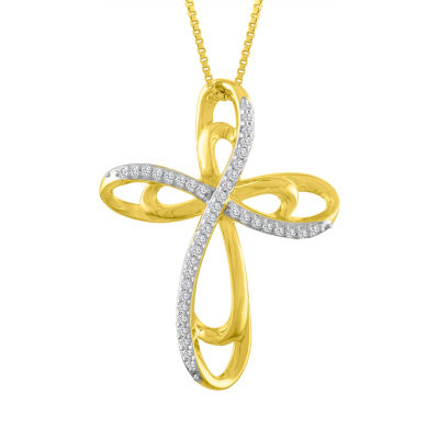 Womens 1/10 CT. T.W. Genuine White Diamond 14K Gold Over Silver Cross Pendant Necklace