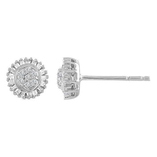 Diamond Blossom 1/5 CT. T.W. Genuine White Diamond Sterling Silver 7mm Stud Earrings