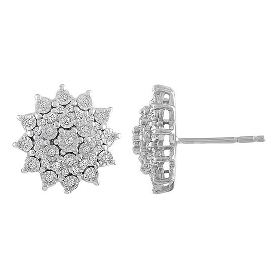 1/4 CT. T.W. Genuine White Diamond Sterling Silver 14.3mm Stud Earrings