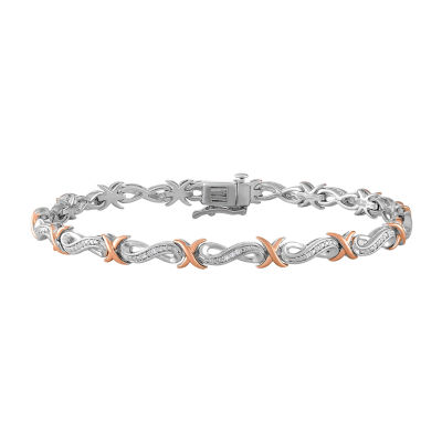Womens 7 1/2 Inch 1/10 CT. T.W. Diamond Sterling Silver & 14K Rose Gold over Silver Link Bracelet