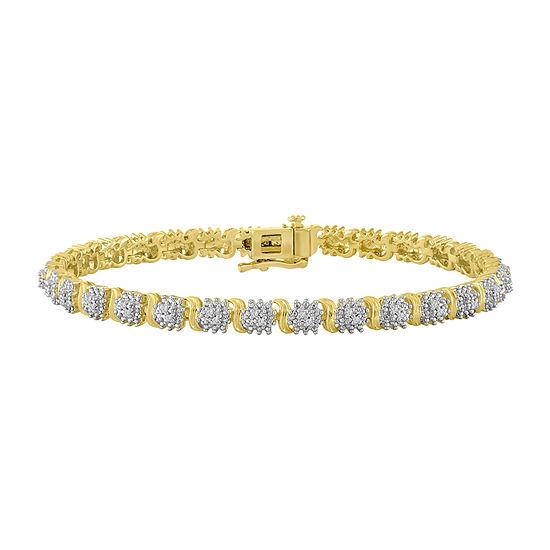 Womens 1 10 Ct Tw White Diamond 14k Gold Over Silver Link Bracelet