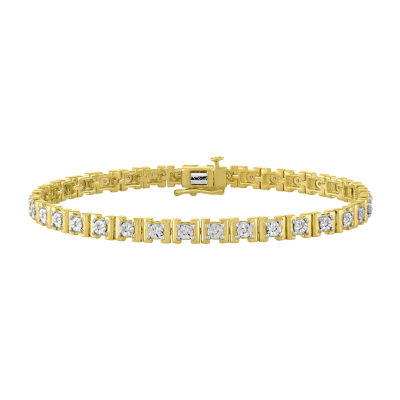 Womens 7 1/2 Inch 1/10 CT. T.W. White Diamond Gold Over Silver Link Bracelet
