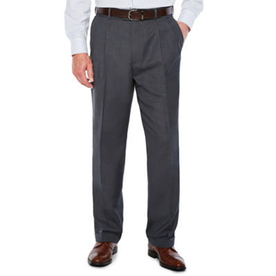 Stafford Sharkskin Stretch Pleated Pants Classic Fit