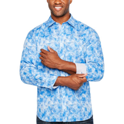 Society Of Threads Long Sleeve Abstract Button-Front Shirt-Big and Tall