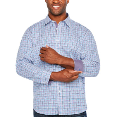 Society Of Threads Long Sleeve Checked Button-Front Shirt-Big and Tall