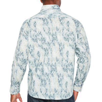 Society Of Threads Long Sleeve Leaf Button-Front Shirt-Big and Tall