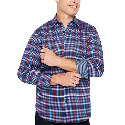 Society Of Threads Long Sleeve Checked Button-Front Shirt