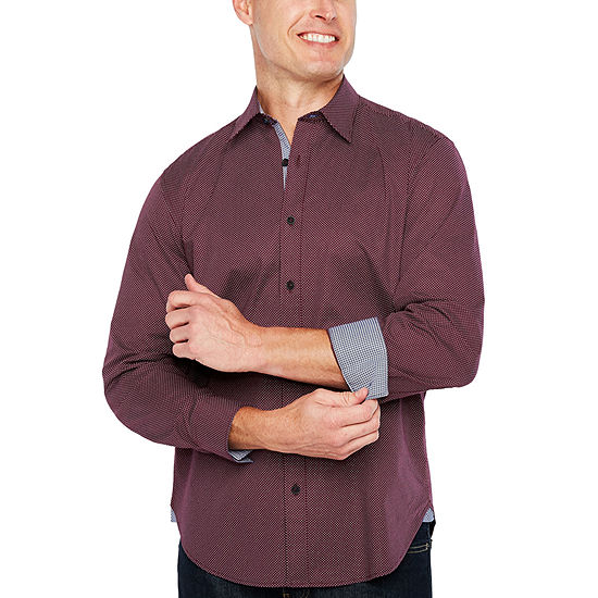 Society Of Threads Mens Long Sleeve Dots Button Front Shirt