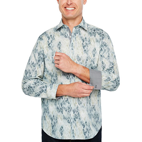 Society Of Threads Long Sleeve Leaf Button-Front Shirt