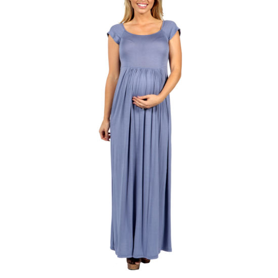24/7 Comfort Apparel Cool Drink Of Water Maxi Dress-Plus Maternity