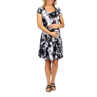 24/7 Comfort Apparel Shadow Flower Fit & Flare Dress-Plus Maternity