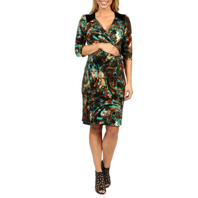 24/7 Comfort Apparel Peacock Pretty And Brilliant Style Wrap Dress-Plus Maternity