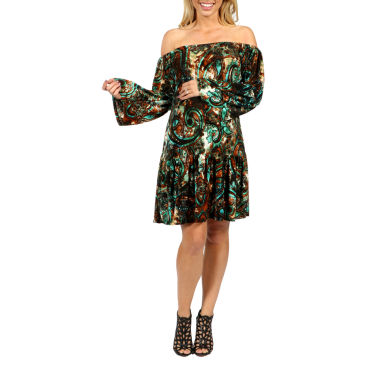 24/7 Comfort Apparel Peacock Peasant Dress-Plus Maternity