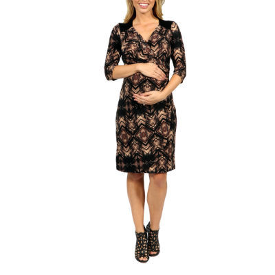 24/7 Comfort Apparel Unforgettable First Impression Wrap Dress-Plus Maternity
