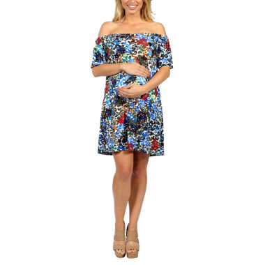 24/7 Comfort Apparel Summertime Sophistication Shift Dress-Maternity